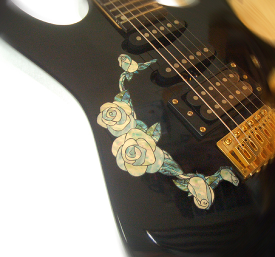 White Roses White Pearl Inlay Stickers Decals Guitar