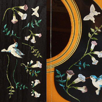 hummingbird and flowers gibson for pickguard