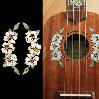 Hibiscus Flowers Rosette for UKULELE Sound Hole Purfling