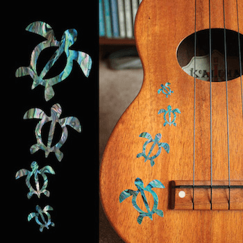 Honu ukulele decal abalone