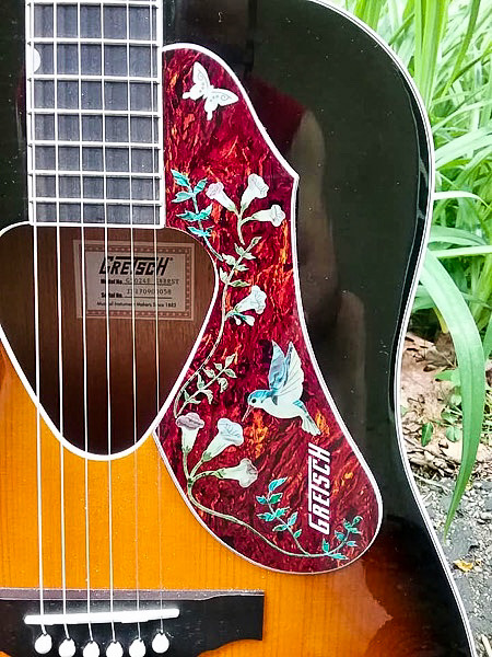 Assorted Hummingbird on Gretsch Acoustic Guitar