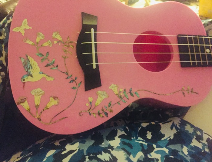 Hummingbird & Flowers sticker decals on ukelele