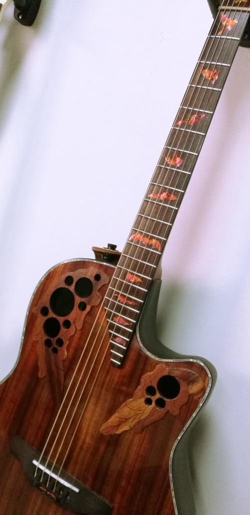 BATバットのアバロンRED ギター ポジションマーク