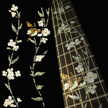 flowers with hummingbird inlay for guitar